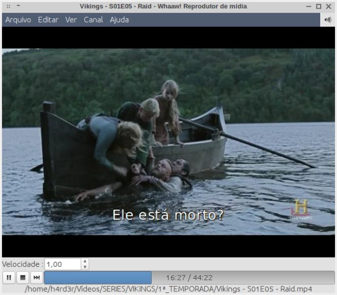 assistindo um episódio da série Vikings.