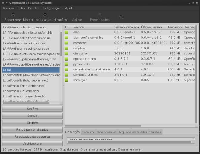 os únicos pacotes instalados que não fazem parte de nenhum repositório do sources.list