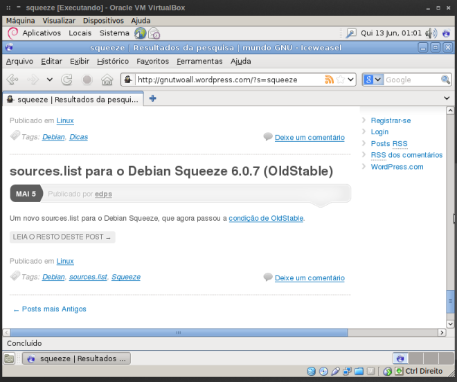 iceweasel com a dica de sources.list do blog...