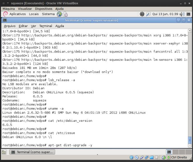 término do download dos pacotes e informações do sistema antes da atualização...