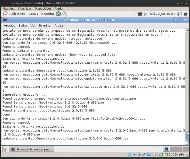 atualização do kernel e instalação do kernel 3.2.0 do Backports...
