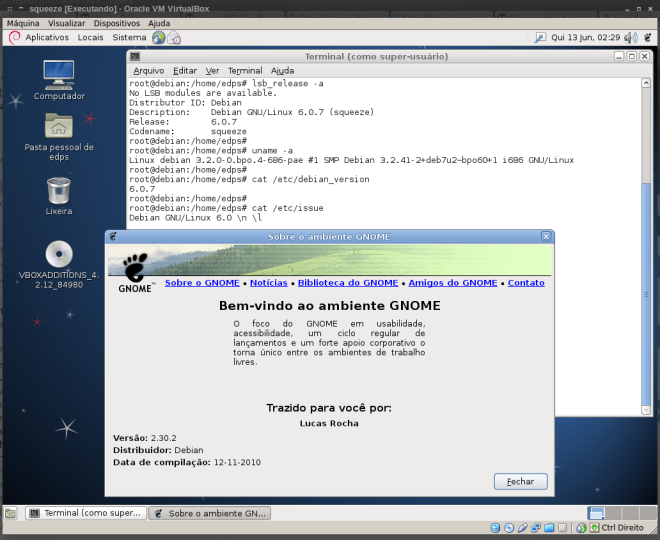 Informações do sistema e do Gnome2...
