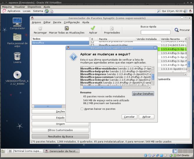 instalação do LibreOffice...