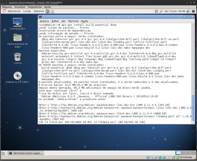 instalação de pacotes -dev (build-essential e dkms)...