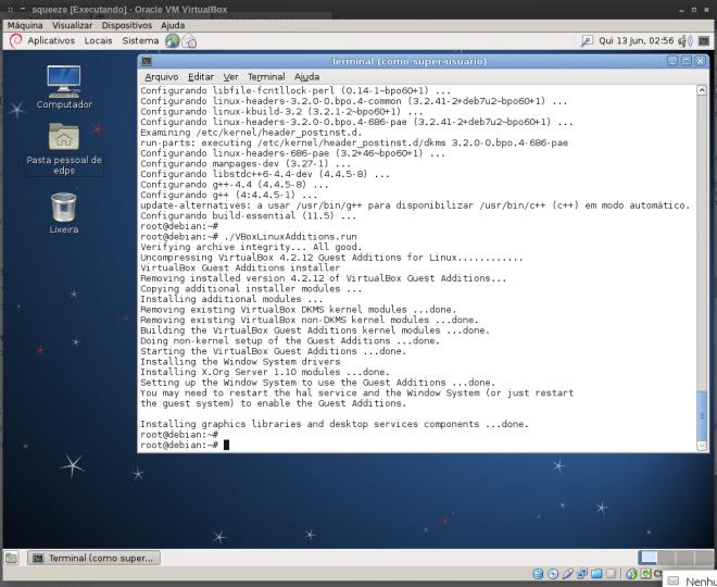 instalação dos Adicionais para o Convidado no VirtualBox...