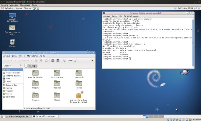 Desktop em full screen, com compartilhamento de pastas no VirtualBox e totalmente atualizado!