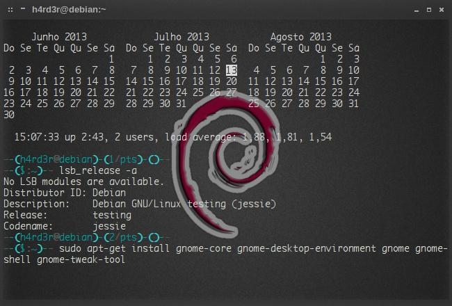 instalação completa do DE Gnome no Debian Jessie...