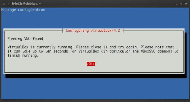 aviso sobre o VirtualBox estar rodando ao mesmo tempo...