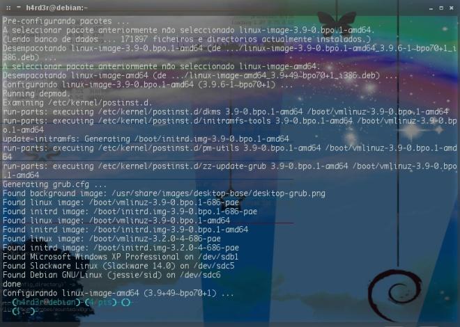 término da instalação do kernel...