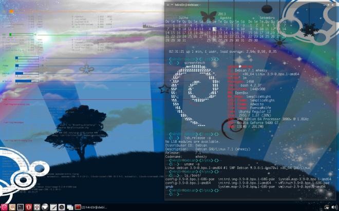 desktop carregado com o kernel 64 Bits!