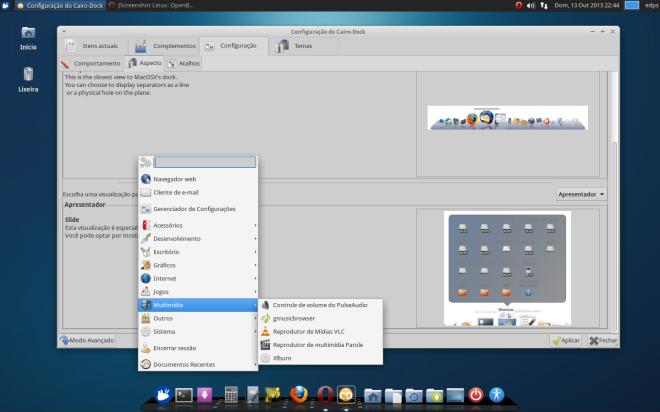 Cairo Dock visto no Xubuntu 13.04