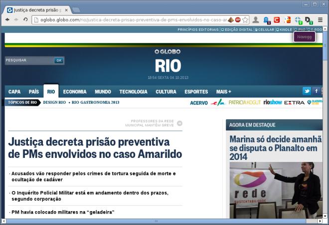 site do jornal O Globo.