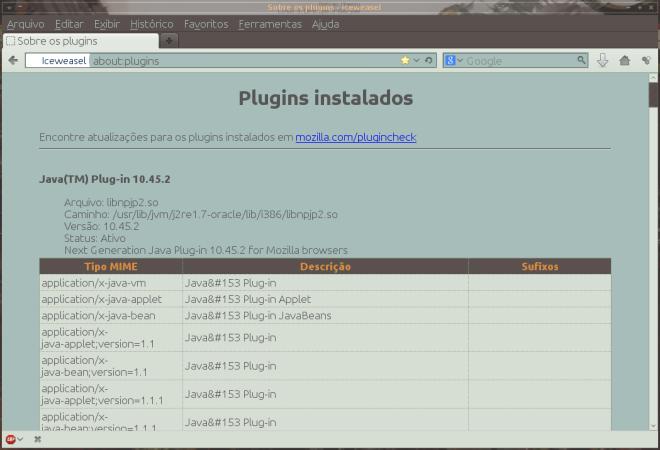 Oracle Java7u45 no Iceweasel