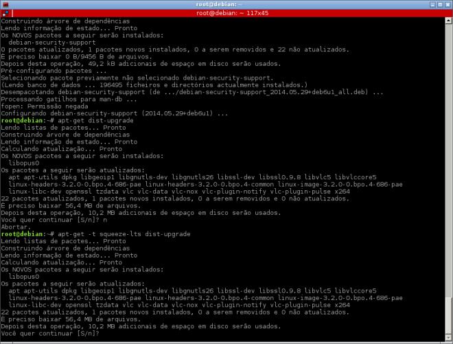 instalação do debian-security-support e simulação de um dist-upgrade...
