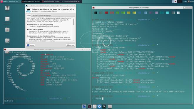 Kernel 3.19.3 empacotado no Debian Wheezy, driver Nvidia instalado manualmente e XFCE 4.12 empacotado dos sources do Xubuntu.