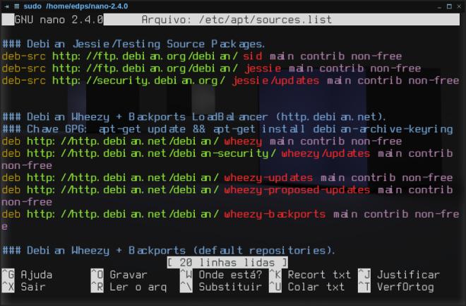 nano 2.4.0 no Debian Wheezy