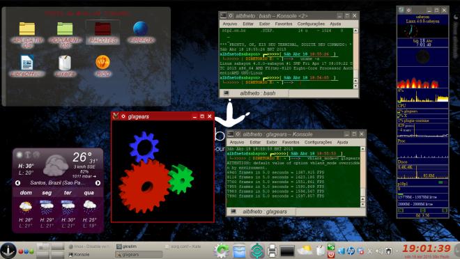 Sabayon Linux com Driver ATI Livre e efeitos 3D.