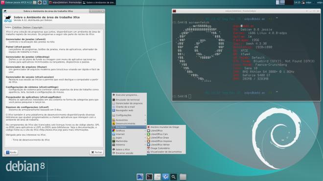 versão do XFCE, menu e Screenfetch com o detalhe do consumo de RAM, apenas 202MB!