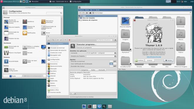 Configurações, MenuLibre e versão do Thunar...