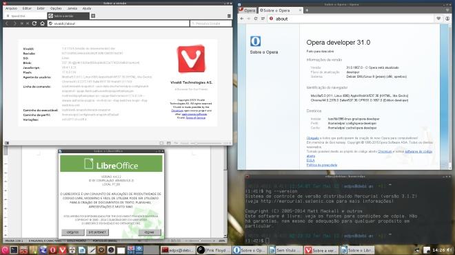 Vivaldi, Opera Developer, LibreOffice e Mercurial atualizados.