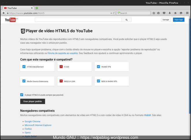 """Agora sim! as opções """"Media Source Extensions"""" e """"MSE & WebM VP9"""" estão habilitadas..."""