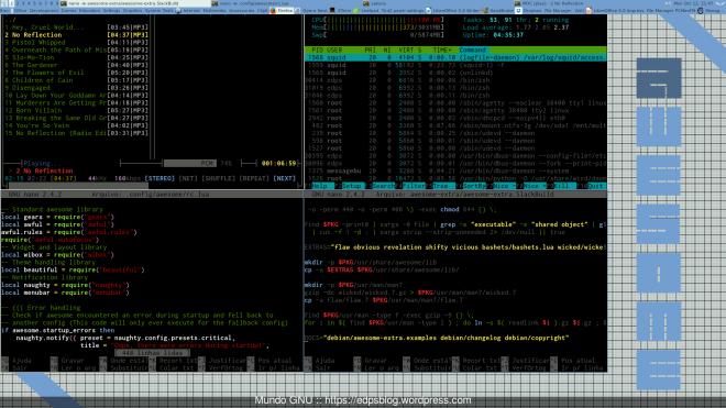 Slack Current + Awesome + awesome menu + VOLTI e 4 terminais com MOC, NANO e HTOP.