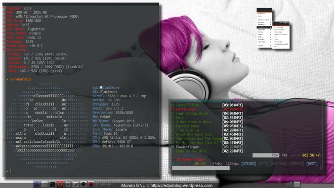 Slack Current + PekWM + LxPanel e 2 Terminator's com lsit + screenfetch & MOC