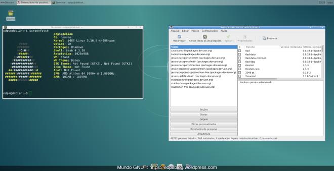 Devuan + XFCE + Screenfetch + Synaptic e somente 745 pacotes instalados, com consumo inicial de 101MB de RAM!
