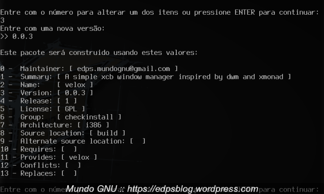 configuração do pacote no checkinstall