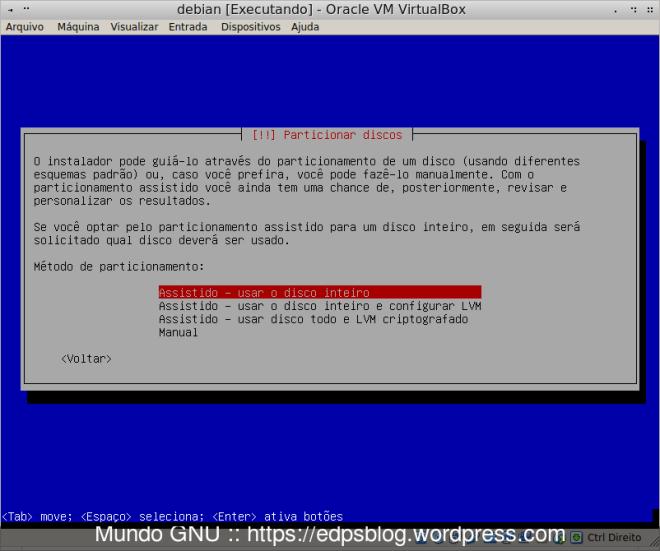 Aqui vai do gosto de cada um, numa VM eu escolho assim, numa instalação real eu escolho MANUAL.