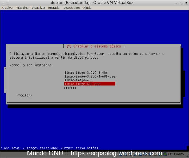 Seleção do kernel a ser utilizado.