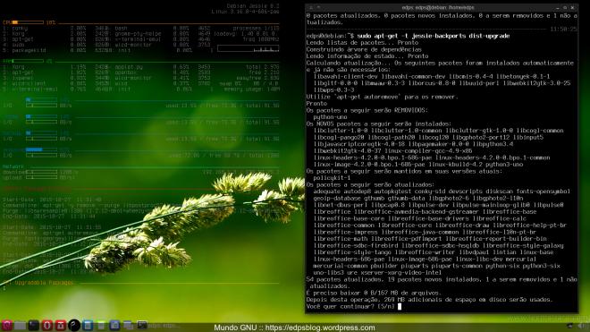 lista de pacotes a serem atualizados (kernel, libreoffice e outros).