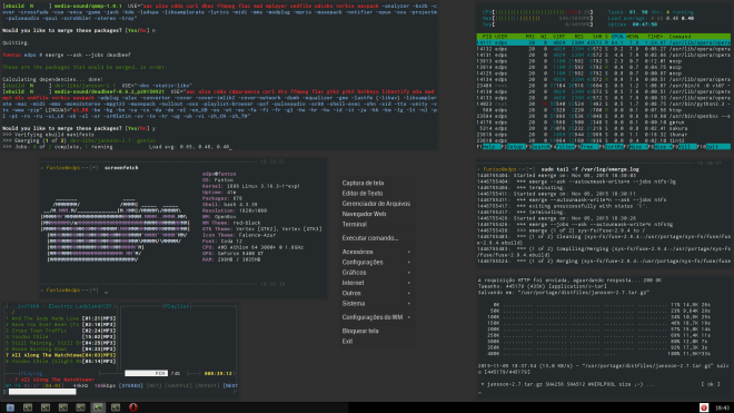 Thunar, Opera 12.16 + Terminais Sakura com MOC, HTop, Screenfetch e emerge instalando o player DeadBeef