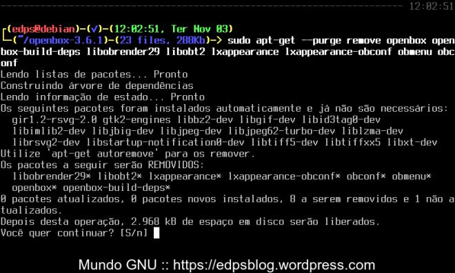 remoção da velha versão do OpenBox e dos extras