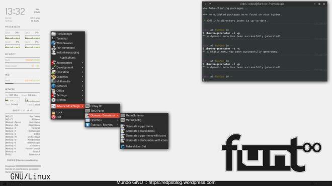 shot pós-instalação... ainda com referência ao Arch Linux.
