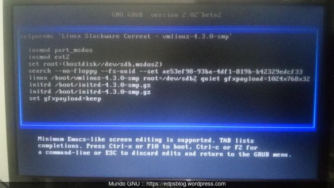 alterando /dev/sda2 por /dev/sdb2, após um Ctrl+x inicia o sistema...