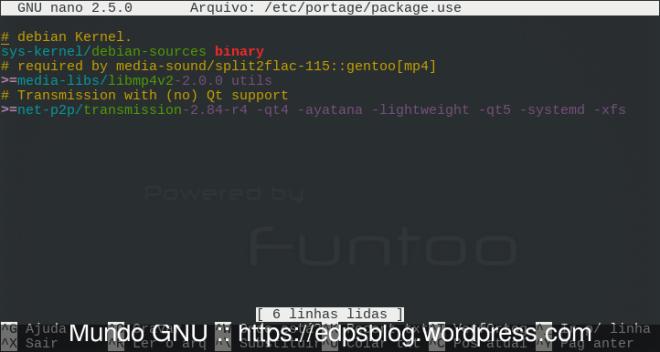 adição do pacote em /etc/portage/package.use