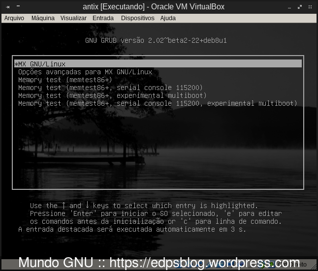 tela de início do GRUB