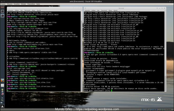 instalação de programas adicionais (opera, virtualbox, iceweasel da Debian Mozilla Team)