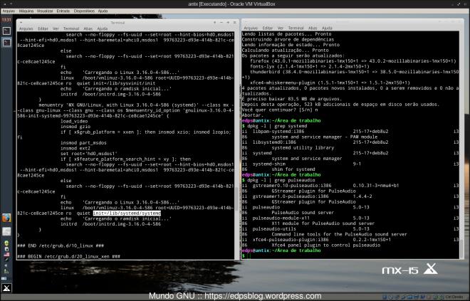 listagem de alguns dos demônios que possuem o Debian atualmente (systemd, pulseaudio, network-manager, avahi, etc)...