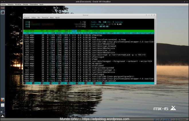 E pasmem o XFCE do AntiX após minhas alterações na inicialização, consome apenas 132MB de RAM usando o SYSTEMD