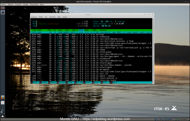 E 137MB de RAM usando o SYSVINIT.