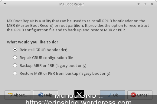 o reparador do Grub ( boot-repair )