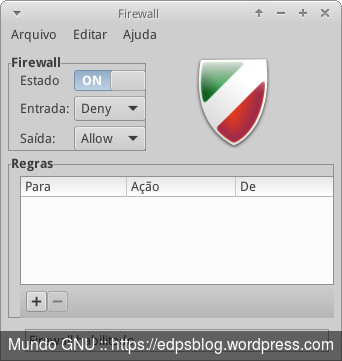 A interface gráfica Gufw para o firewall ufw