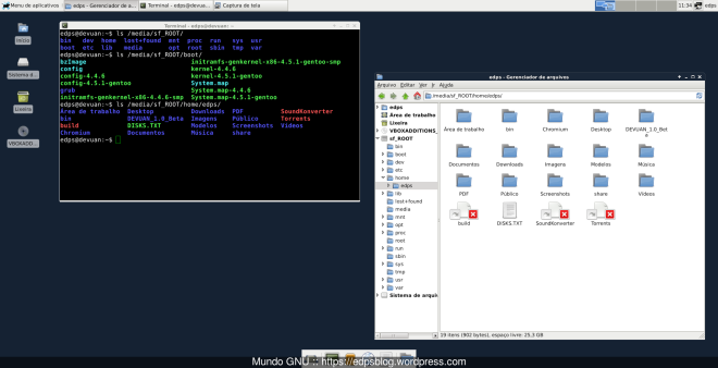 VirtualBox configurado, pastas compartilhadas idem...