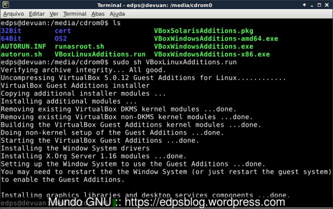 Instalação com sucesso dos Adicionais para o Convidado no VirtualBox...