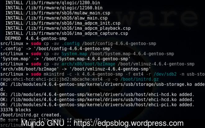 instalação do kernel e cópia de arquivos para /boot