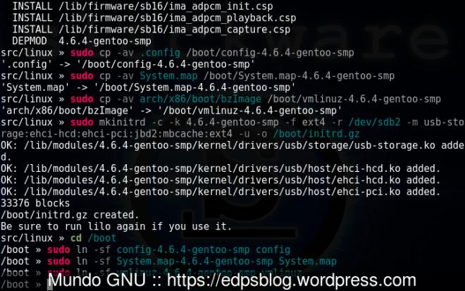 craição do initrd para o kernel 4.6.4-gentoo