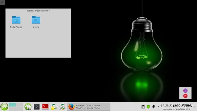 OpenSUSE Leap 42.2, sessão aberta em KDE, com efeitos de Kwin.