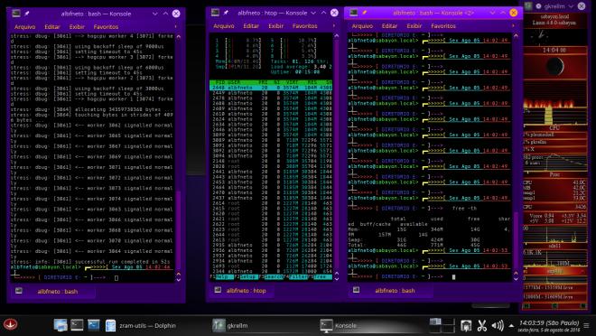 Teste de Stress. Sem ZSWAP. RAM e partição de troca muito usadas.